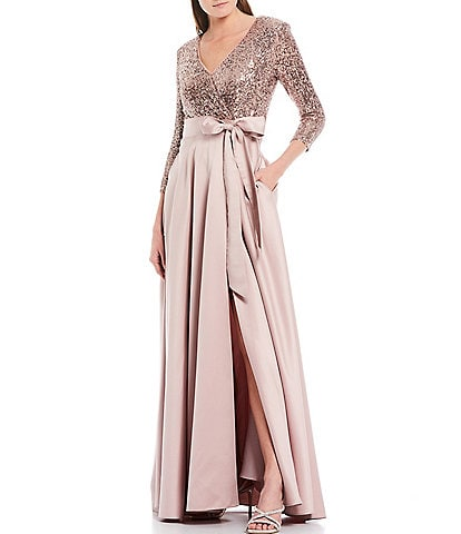 Xscape Sequin Bodice Satin Gown