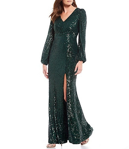 Xscape Sequin V-Neck Front Slit Long Sleeve Gown