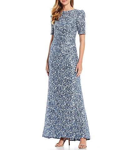 Xscape Short Rouched Puff Shoulder Boat Neck Gown