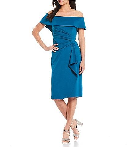 Xscape Off-the-Shoulder Short Sleeve Side Ruching Sheath Dress