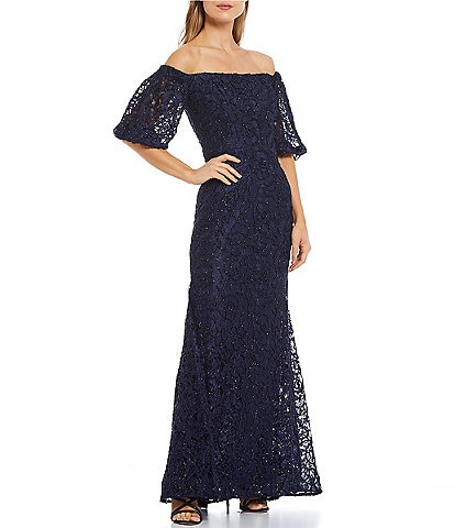 Xscape Stretch Lace Puff Short Sleeve Off-the-Shoulder Mermaid Gown