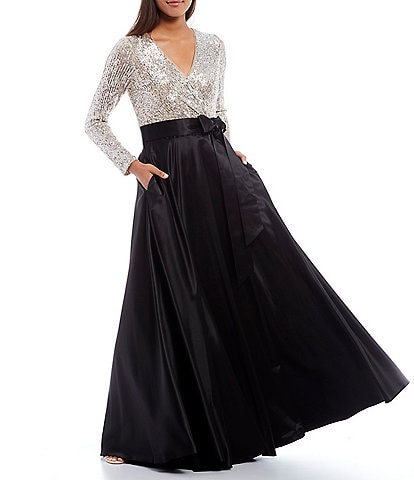 Xscape Surplice V-Neck Sequined Long Sleeve Bow Detail Taffeta Ball Gown