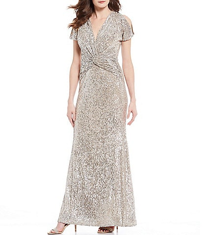 Xscape Twist Front Allover Sequin Short Split Sleeve Gown