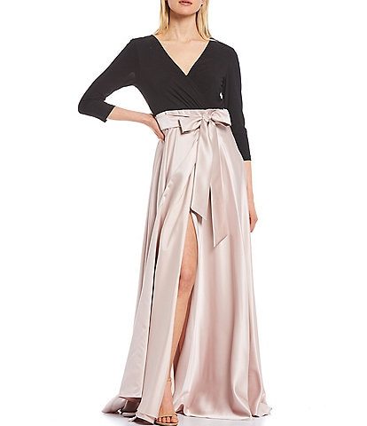 Xscape V-Neck 3/4 Sleeve Jersey Bodice Satin Ball Ggown