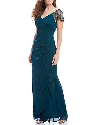 Xscape V-Neck Ruched Back Illusion Beaded Short Sleeve Asymmetrical Gown