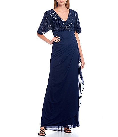 Xscape V-Neck Short Sleeve Sequin Bodice Side Ruched Gown