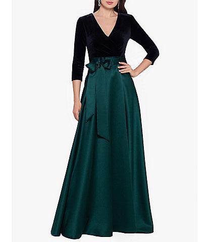 Xscape Velvet Bodice V-Neck Long Sleeve Side Bow Satin Ball Gown