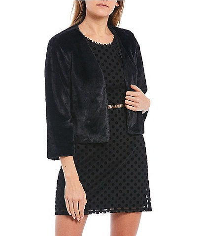 Xtraordinary 3/4 Sleeve Faux Fur Open-Front Cropped Shrug