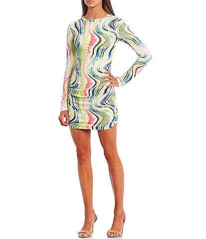 Xtraordinary Long Sleeve Tie-Dye Mesh Dress