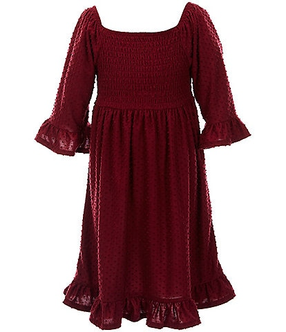 Xtraordinary Big Girls 7-16 Bell-Sleeve Smocked Clip-Dot A-Line Dress