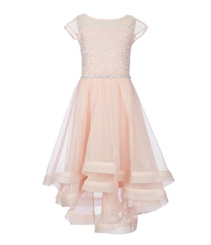 Xtraordinary Big Girls 7-16 Cap-Sleeve Lace/Tulle Fit-And-Flare Dress