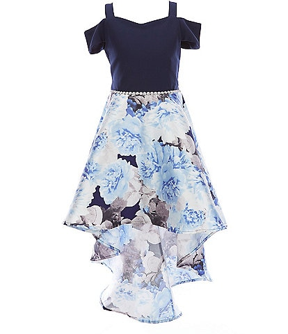 Xtraordinary Big Girls 7-16 Cold-Shoulder Floral Print Mikado High-Low Fit-and-Flare Dress
