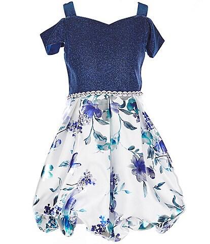Xtraordinary Big Girls 7-16 Cold-Shoulder Solid/Floral Foil Bubble Dress