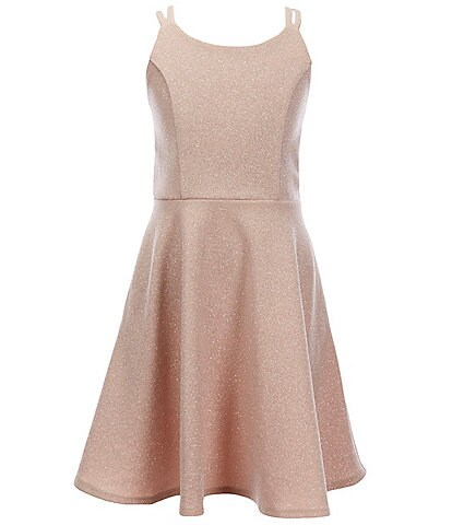 Xtraordinary Big Girls 7-16 Double-Strap Glitter-Knit Fit-And-Flare Dress