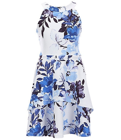 Xtraordinary Big Girls 7-16 Floral Double-Hem Fit-And-Flare Dress