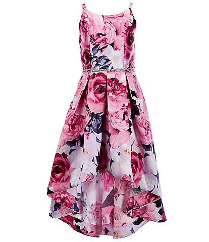 Xtraordinary Big Girls 7-16 Floral Pleated Hi-Low Dress