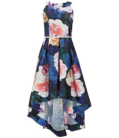 Xtraordinary Big Girls 7-16 Floral-Printed Hi-Low Shantung Dress