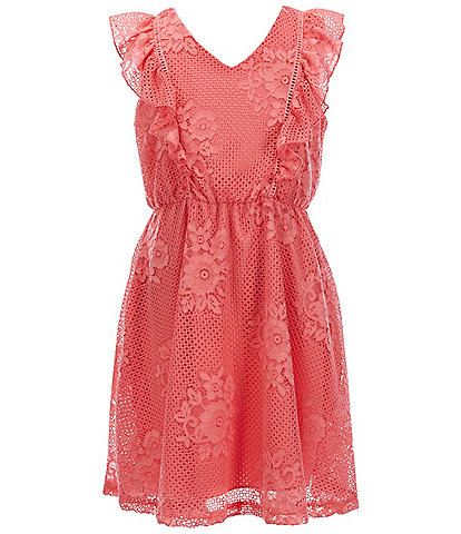 Xtraordinary Big Girls 7-14 Flutter-Sleeve Patterned-Lace Fit-And-Flare Dress