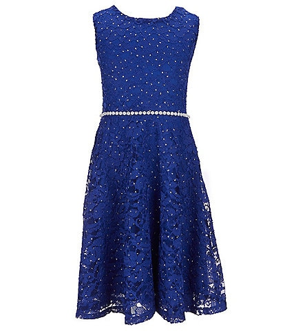 Xtraordinary Big Girls 7-16 Glitter-Accented Lace Fit-And-Flare Dress
