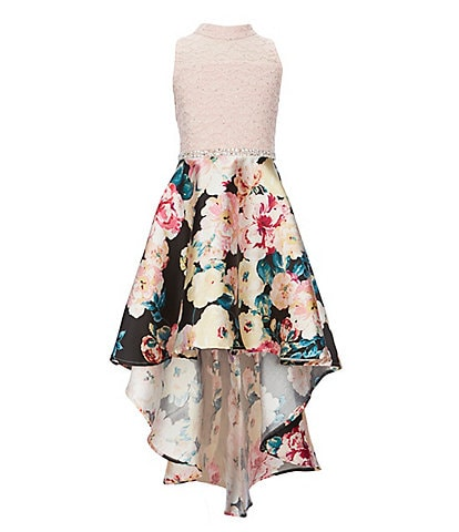 Xtraordinary Big Girls 7-16 Glitter-Accented-Lace/Floral Mikado Fit-And-Flare Dress