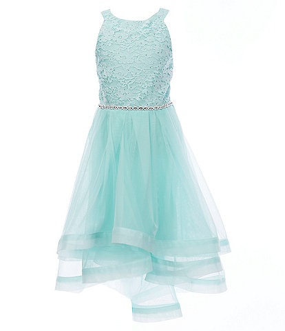Xtraordinary Big Girls 7-16 Glitter-Accented Lace/Sheer-Overlay Dress