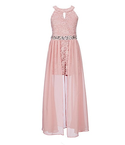 Xtraordinary Big Girls 7-16 Glitter-Lace/Chiffon Maxi Romper
