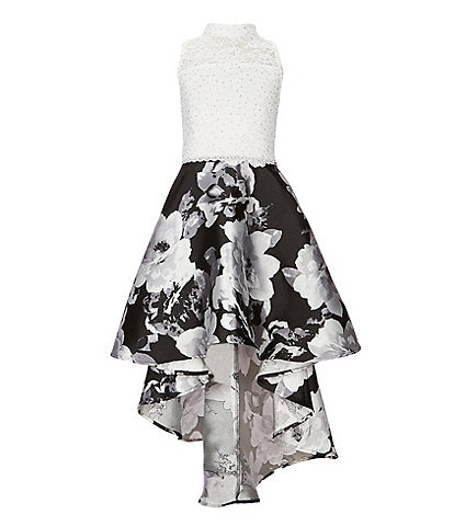 Xtraordinary Big Girls 7-16 Halter Neck Floral Print High-Low Dress