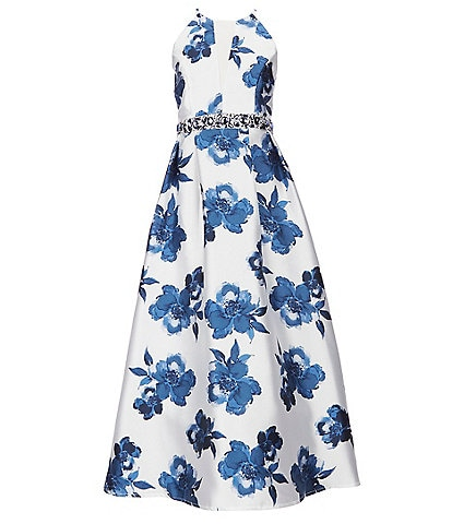 Xtraordinary Big-Girls 7-16 Highneck Floral-Printed Ballgown