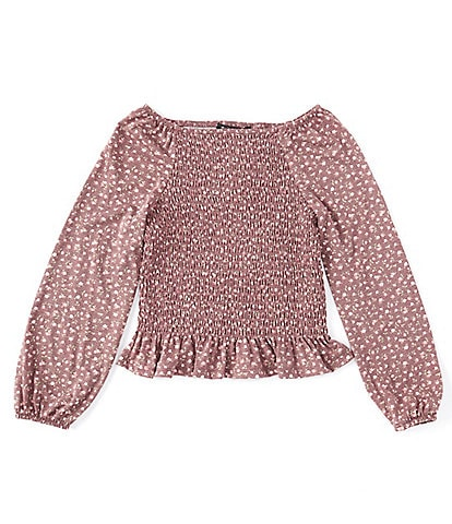 Xtraordinary Big Girls 7-16 Long-Sleeve Ditsy-Floral Smocked-Front Tunic Top