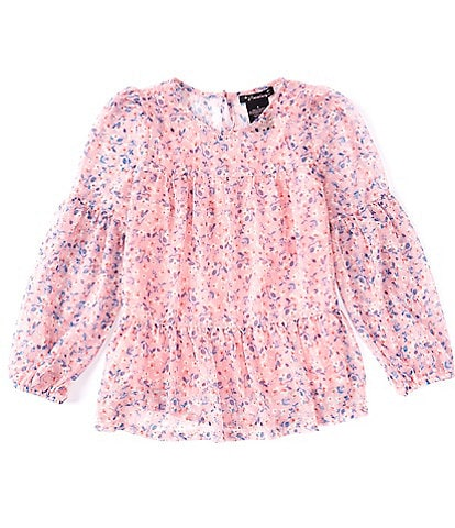 Xtraordinary Big Girls 7-16 Long-Sleeve Floral Printed Tiered Babydoll Blouse
