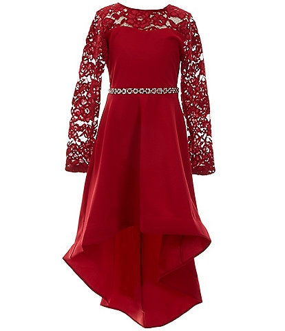 Xtraordinary Big Girls 7-16 Long-Sleeve Illusion Lace With Pocket Fit-and-Flare Hi-Low Dress