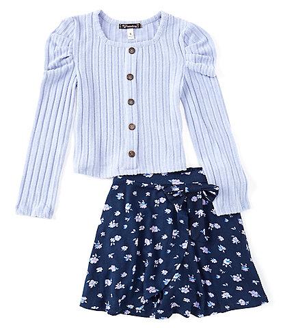 Xtraordinary Big Girls 7-16 Long Sleeve Rib Knit Top & Floral Skirt 2-Piece Set