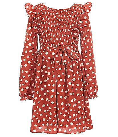 Xtraordinary Big Girls 7-16 Long-Sleeve Smocked Fit-and-Flare Dress