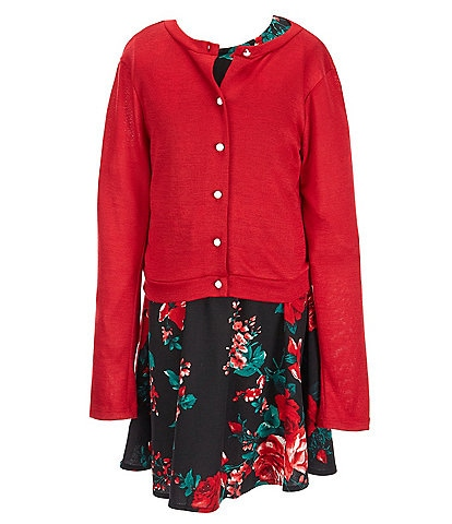 Xtraordinary Big Girls 7-16 Long-Sleeve Solid Knit Cardigan & Sleeveless Floral-Printed Fit-And-Flare Dress