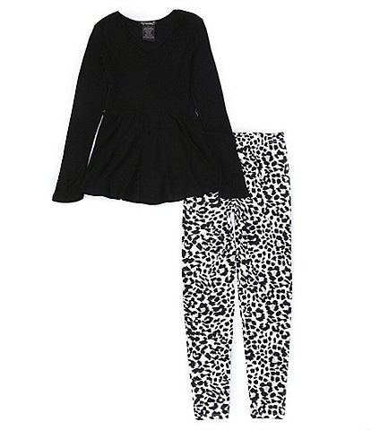Xtraordinary Big Girls 7-16 Long-Sleeve Solid Tunic Top & Animal-Printed Leggings Set