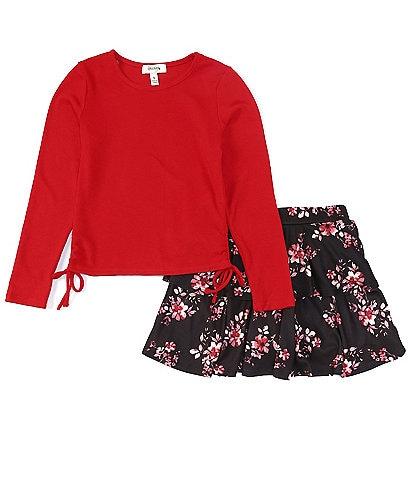 Xtraordinary Big Girls 7-16 Long Sleeve Top & Floral Skirt 2-Piece Set