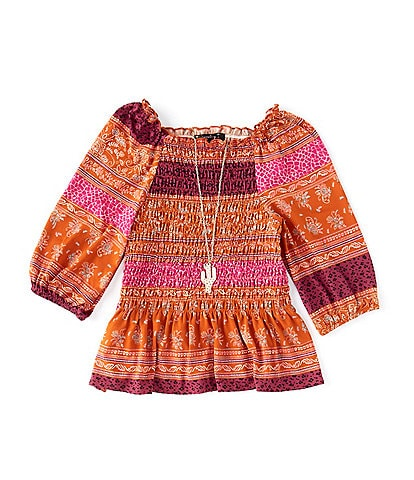 Xtraordinary Big Girls 7-16 Mixed-Media Peplum-Hem Peasant Top