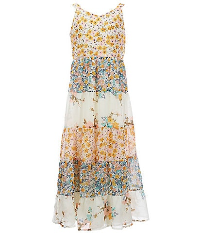 Xtraordinary Big Girls 7-16 Mixed-Media Tiered Maxi Dress