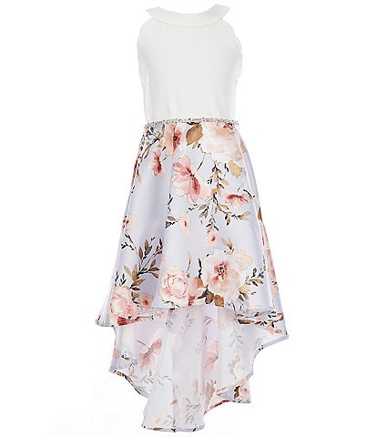 Xtraordinary Big Girls 7-16 Satin Solid/Floral Hi-Low Dress