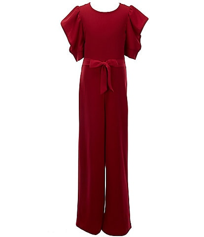 Xtraordinary Big Girls 7-16 Shirred-Sleeve Belted Crepe Jumpsuit
