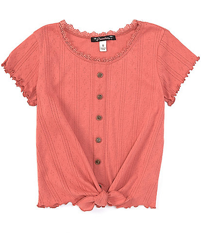 Xtraordinary Big Girls 7-16 Short-Sleeve Ribbed Button-Front Tee