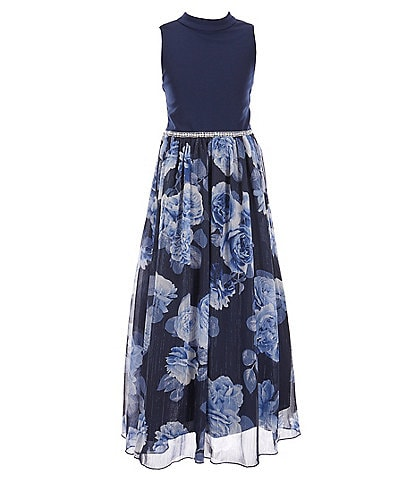 Xtraordinary Big Girls 7-16 Sleeveless Floral Jeweled Waist Maxi Dress