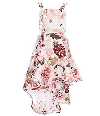 Xtraordinary Big Girls 7-16 Embellished-Pockets Foiled Floral High-Low Dress