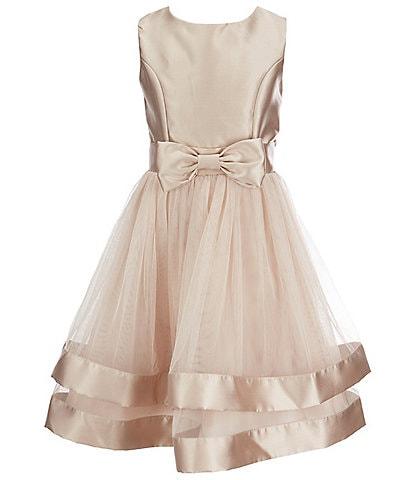 Xtraordinary Big Girls 7-16 Sleeveless Satin Bow-Accented Double Mesh Skirt Party Dress
