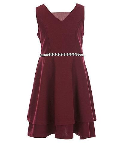 Xtraordinary Big Girls 7-16 Sleeveless V-Neck Jeweled Waist Scuba Crepe Dress