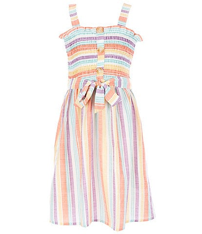 Xtraordinary Big Girls 7-16 Smocked Tie-Front Stripe Fit-and-Flare Dress