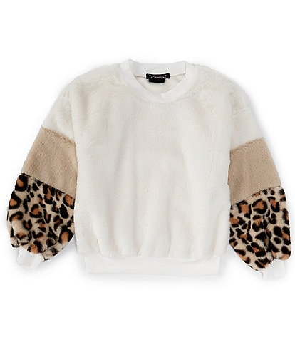 Xtraordinary Big Girls 7-16 Soft Cheetah/Colorblock-Sleeve Sweater