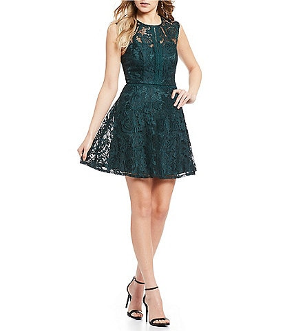 Xtraordinary Sleeveless Lace Fit-And-Flare Dress