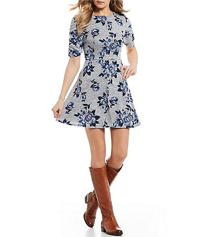 Xtraordinary Cinched-Sleeve Floral Print Fuzzy Knit Dress
