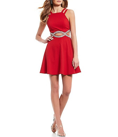 Xtraordinary Double Strap Beaded Infinity-Waist Fit-And-Flare Dress